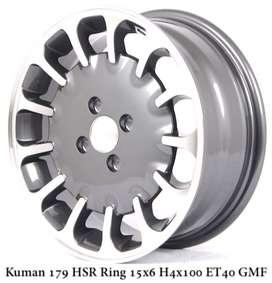 SALE KUMAN 179 HSR R15X6 H4x100 ET40 GMF + BAN 195 50 R15 ACC PHI