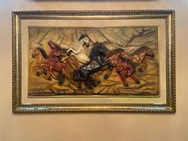 Wall frame Art 3D gallaping horses.( large frame)