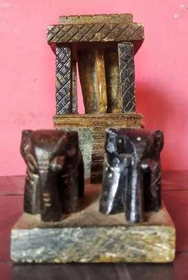 100% Handmade Miniature of Elephant Chariot from Hampi