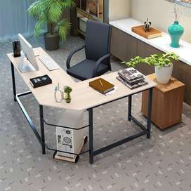 L-Shaped Computer Desk, Modern Sturdy Steel Standing and Wooden Desk