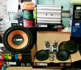 "Plus Pasang, Power 4Ch+Subwoofer 12""+Speaker Split+Box mdf+Kabel2"