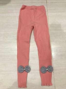 Legging reeb orange ribbon kids size 140