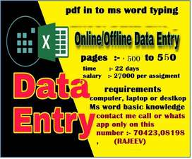 Genuine Online Data Entry/simple Typing jobs-