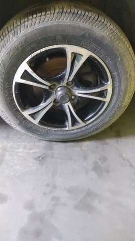 5 Alloy wheels with MRF tyres good condition