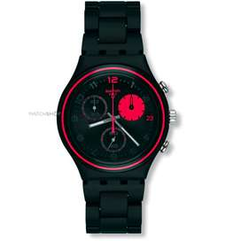 Swatch YCB4020AG Red Circle Chronograph Full Black Mulus Normal