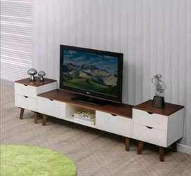 Bufet minimalis retro warna kombinasi matrial kayu jati AJF012