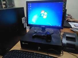 Komputer ksir Fullset PC branded siap pakai dengan IPOS program kasir