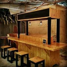 Meja dan kursi kafe, rombong, gerobak