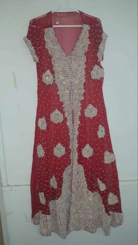 RED BRIDAL FROCK WITH WHITE BEADS WORK