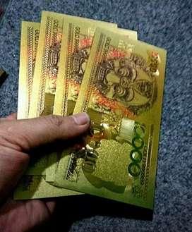 4 lembar Uang Gold Foil BANKNOTE MOTIF BARONG
