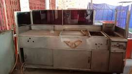 Stainless steel counter and mobil tandoor.