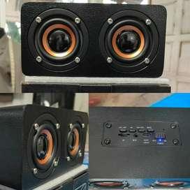 Speaker Bluetooth Kayu Super Bass dengan Memory Card slot dan AUX W5