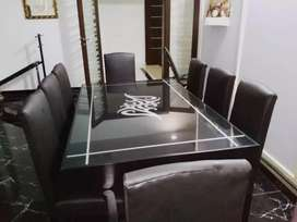 Luxury Glass Painted 8 Seater Dining Table