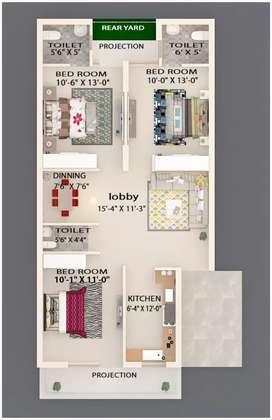 3bhk semi furnished flat