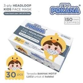 POKANA - Masker Anak 3 Ply Headloop   Masker Medis Anak 3 Ply