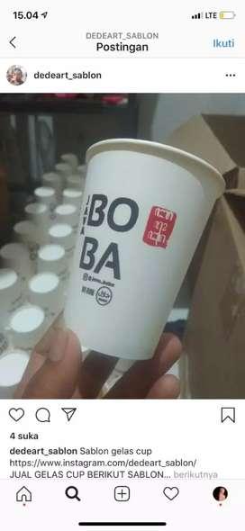 Sablon gelas cup plastik kualitas terbaik