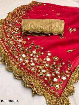 GEORGETTE PARTYWEAR SAREES WITH COD