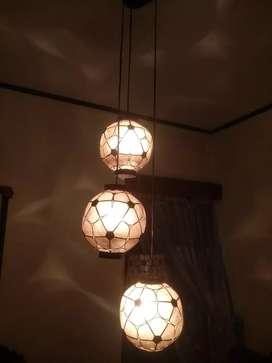 Lampu gantung antik 3 susun Dari kerang