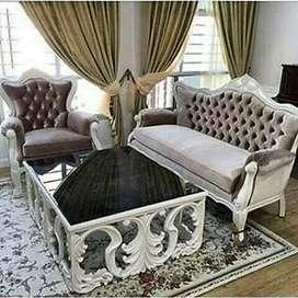 Sofa tamu jok kain Sinta lembut dan kayu jsti