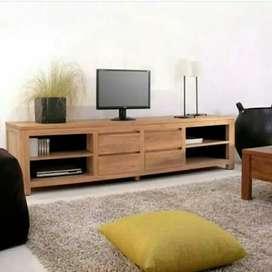 Biffet TV minimalis, kayu jati finis natural, free ongkir