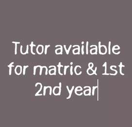 Home Tutor available for matriculation and FSC Level