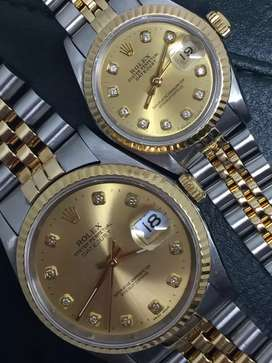 Rolex Sepasang men ladies Champagne Diamonds