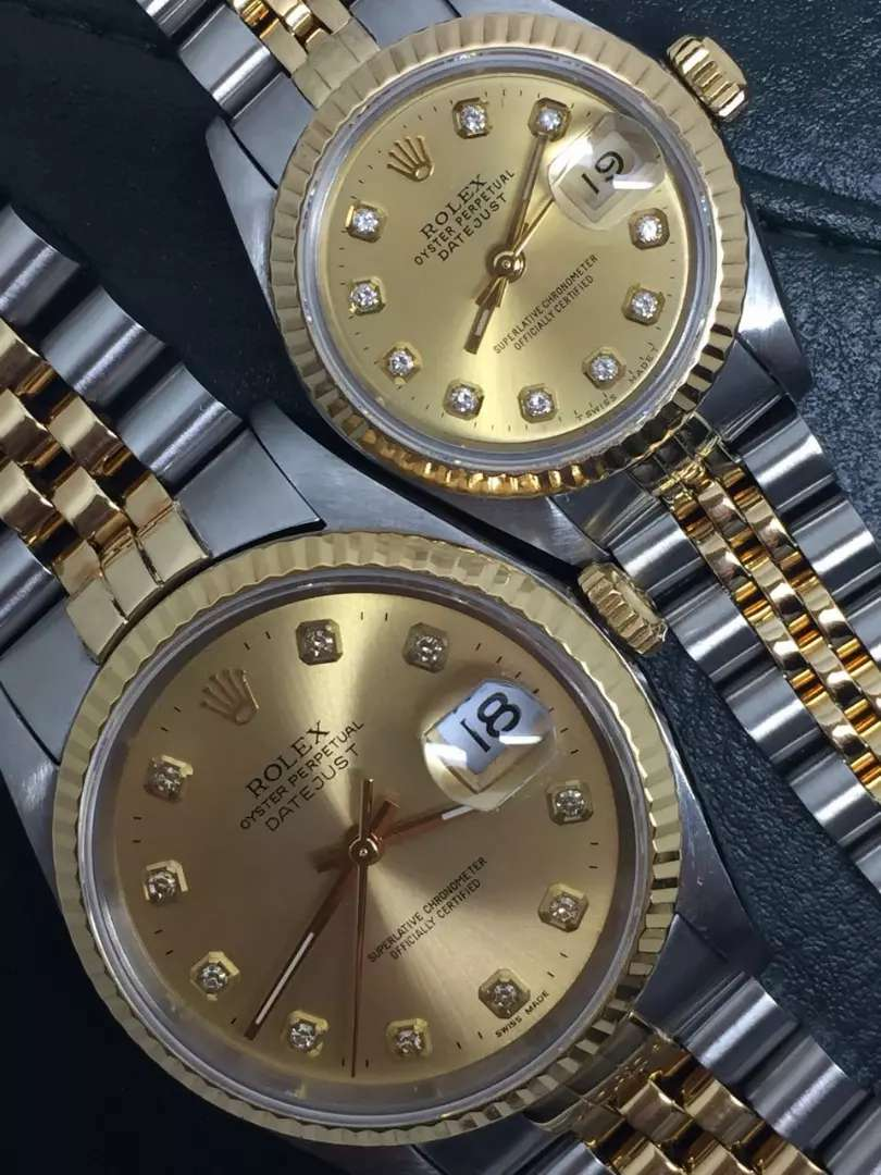 Rolex Sepasang men ladies Champagne Diamonds 0