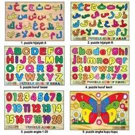 Mainan Anak Puzzle Kayu Hijaiyah Huruf Angka Hewan Tubuh Edukasi