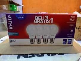 Lampu in-lite 9watt 3free1