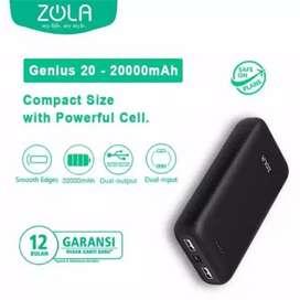Powebank Zola genius 20 20000 mah baru segel garansi resmi 1 tahun