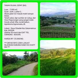 Tanah 7.006 m2 Murah dgn View indah, 50 menit dr TOL CIBINONG-BOGOR.