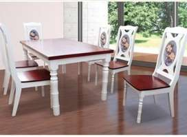 Meja Makan 6 person Device - Orchid white