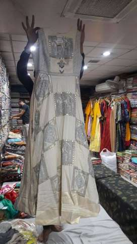 Women's White And gray Floral Dress(made by pallav)