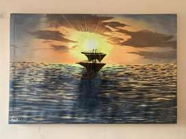 Sea and ship oil painting on canvas