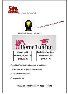 Home tuition Available during this Pandemic to save time of your child