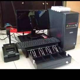 KOMPUTER KASIR LENGKAP, CPU PC, PRINTER, LACI UANG, PROGRAM + TRAINING