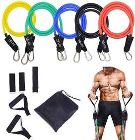 5-Piece Exercise Bands - Portable Home Gym Accessories - Stackable Up