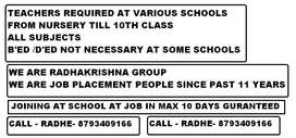 TEACHERS REQUIRED AT VARIOUS SCHOOLS