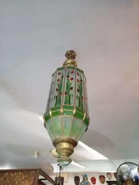 lampu Storlop lampion keramik motif bunga warna hijau