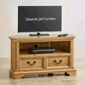 Meja tv minimalis slim moderen, P.100cm, kayu jati asli 100%