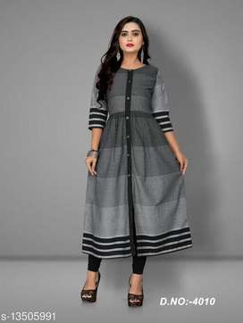 Best selling Fashionable Grey Kurti 3/4 sleeve