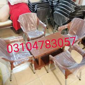 Plastic chairs table set double floor table all furniture copper colr