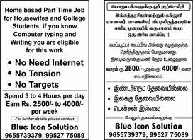 Home based jobs for housewives and college student's