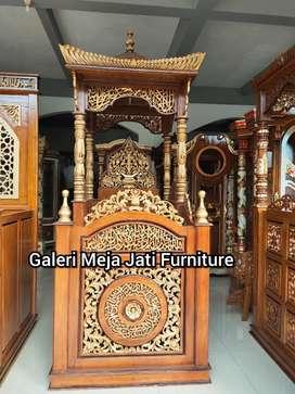 Mimbar masjid kuba material kayu jati E788 talk