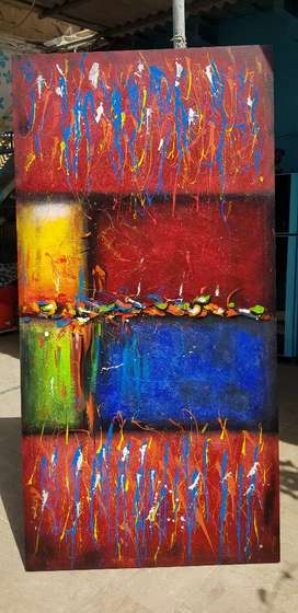 Embossed abstract Art mix media on canvas 3x6 ft.