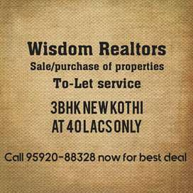 Brand new kothi at 40 lacs only