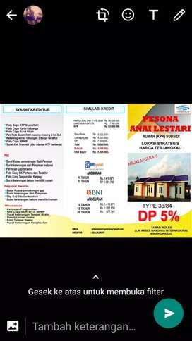 Dijual Perum Pesona Anai Lestari Type 36/84 Subsidi Tahap ke IV