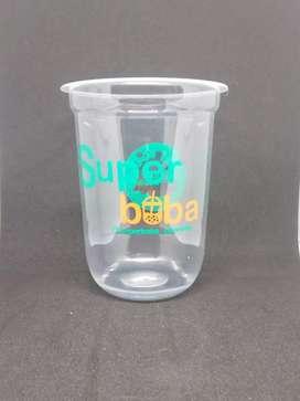 Jual gelas plastik dan cetak logo PP oval 12oz