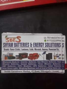 Inverter battery solar panels street lights etc