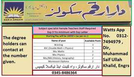 Female Staff Req at Dar e Arqam  New City contact written on pic of AD